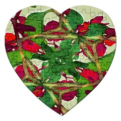Floral Print Colorful Pattern Jigsaw Puzzle (Heart)