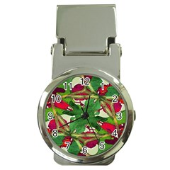 Floral Print Colorful Pattern Money Clip With Watch