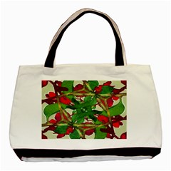 Floral Print Colorful Pattern Twin-sided Black Tote Bag