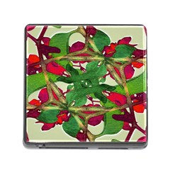 Floral Print Colorful Pattern Memory Card Reader With Storage (square)