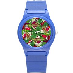Floral Print Colorful Pattern Plastic Sport Watch (small)
