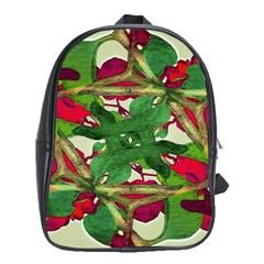 Floral Print Colorful Pattern School Bag (xl)