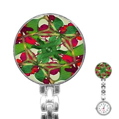 Floral Print Colorful Pattern Stainless Steel Nurses Watch