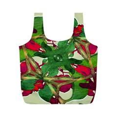Floral Print Colorful Pattern Reusable Bag (M)