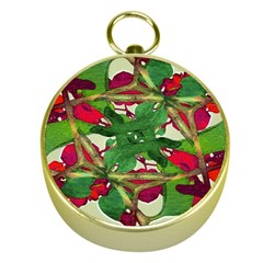 Floral Print Colorful Pattern Gold Compass