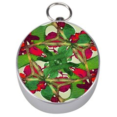 Floral Print Colorful Pattern Silver Compass