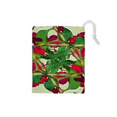 Floral Print Colorful Pattern Drawstring Pouch (small)