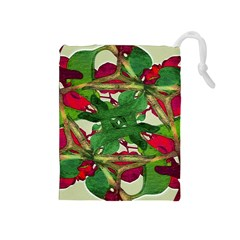 Floral Print Colorful Pattern Drawstring Pouch (Medium)