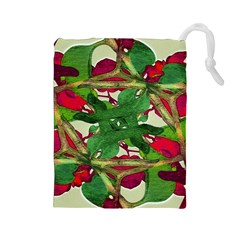 Floral Print Colorful Pattern Drawstring Pouch (large)