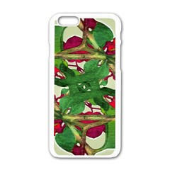 Floral Print Colorful Pattern Apple iPhone 6 White Enamel Case