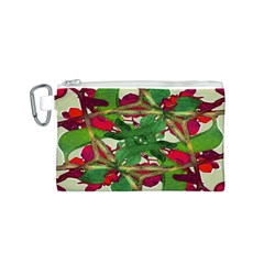 Floral Print Colorful Pattern Canvas Cosmetic Bag (small)