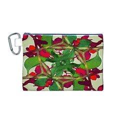 Floral Print Colorful Pattern Canvas Cosmetic Bag (medium)