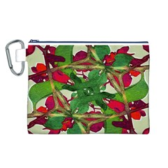 Floral Print Colorful Pattern Canvas Cosmetic Bag (Large)