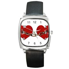 Unbreakable Love Concept Square Leather Watch