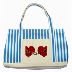 Unbreakable Love Concept Blue Striped Tote Bag