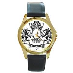 Rembrandt Designs Round Leather Watch (gold Rim)
