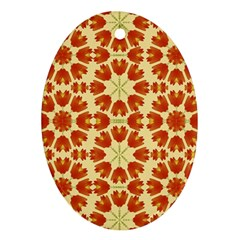 Colorful Floral Print Vector Style Oval Ornament (two Sides)
