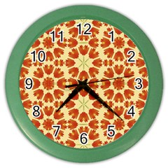 Colorful Floral Print Vector Style Wall Clock (color)