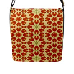 Colorful Floral Print Vector Style Flap Closure Messenger Bag (large)