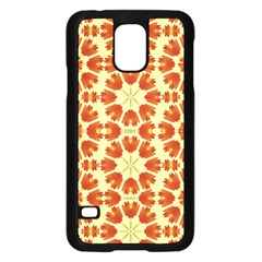 Colorful Floral Print Vector Style Samsung Galaxy S5 Case (Black)