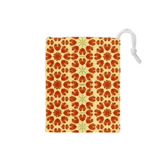 Colorful Floral Print Vector Style Drawstring Pouch (Small)