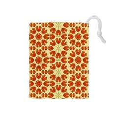 Colorful Floral Print Vector Style Drawstring Pouch (Medium)