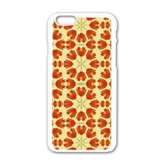 Colorful Floral Print Vector Style Apple iPhone 6 White Enamel Case