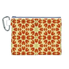 Colorful Floral Print Vector Style Canvas Cosmetic Bag (Large)