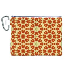 Colorful Floral Print Vector Style Canvas Cosmetic Bag (XL)
