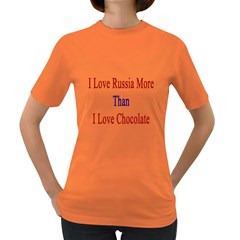 I Love Russia More Than I Love Chocolate Women s T Shirt (colored)