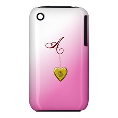 A Golden Rose Heart Locket Apple iPhone 3G/3GS Hardshell Case (PC+Silicone)