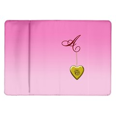 A Golden Rose Heart Locket Samsung Galaxy Tab 10.1  P7500 Flip Case
