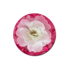 White Rose With Pink Leaves Around  Drink Coaster (round)