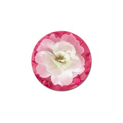 White Rose With Pink Leaves Around  Golf Ball Marker