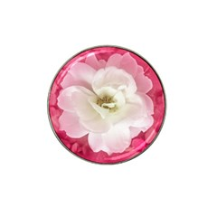 White Rose With Pink Leaves Around  Golf Ball Marker (for Hat Clip)