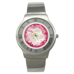 White Rose With Pink Leaves Around  Stainless Steel Watch (slim)
