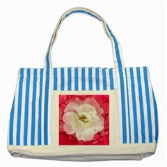 White Rose with Pink Leaves Around  Blue Striped Tote Bag