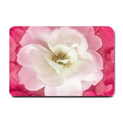 White Rose With Pink Leaves Around  Small Door Mat