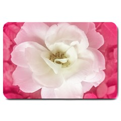 White Rose with Pink Leaves Around  Large Door Mat