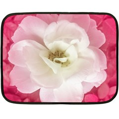 White Rose with Pink Leaves Around  Mini Fleece Blanket (Two Sided)