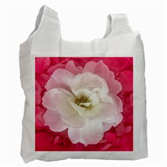 White Rose With Pink Leaves Around  White Reusable Bag (two Sides)