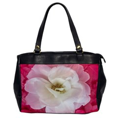 White Rose With Pink Leaves Around  Oversize Office Handbag (one Side)