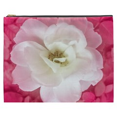 White Rose With Pink Leaves Around  Cosmetic Bag (xxxl)