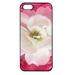 White Rose With Pink Leaves Around  Apple Iphone 5 Seamless Case (black)