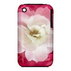White Rose with Pink Leaves Around  Apple iPhone 3G/3GS Hardshell Case (PC+Silicone)