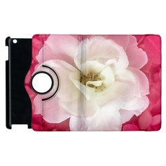 White Rose With Pink Leaves Around  Apple Ipad 3/4 Flip 360 Case