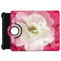 White Rose With Pink Leaves Around  Kindle Fire Hd Flip 360 Case