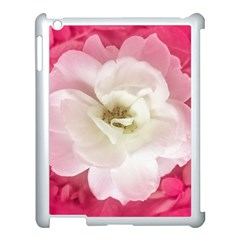 White Rose With Pink Leaves Around  Apple Ipad 3/4 Case (white)