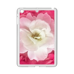 White Rose with Pink Leaves Around  Apple iPad Mini 2 Case (White)