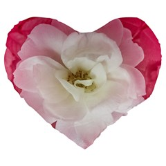 White Rose With Pink Leaves Around  19  Premium Heart Shape Cushion